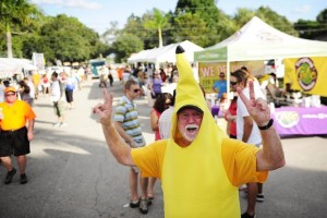 """Corey Perrine/Staff Michael Burks owner of Tropical Smoothie Cafes in Estero and Naples is seen dressed as a banana Sunday, Nov. 17, 2013 at Riverside Park in Bonita Springs. """"Fruit smoothies, two tickets!"""" Burks yelled. A few thousand came out to enjoy the 20th anniversary of the Taste of Bonita. The Rotary Club of Bonita Springs and Physicians Regional Health Care System hosted the event. The celebration featured local food, music, games, a car show, prizes and more. The event has raised more than $500,000 in the past 10 years for charitable causes supported by the Rotary Club, including Junior Achievement of Southwest Florida, the Bonita Springs Assistance Office, New Horizon's Super Girls Club, the Wheelchair Foundation and many others. Sunday is considered the main day with a chance to sample from about 25 locally owned restaurants."""